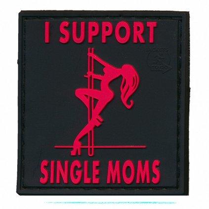 Gumová nášivka I Support Single Moms Černá