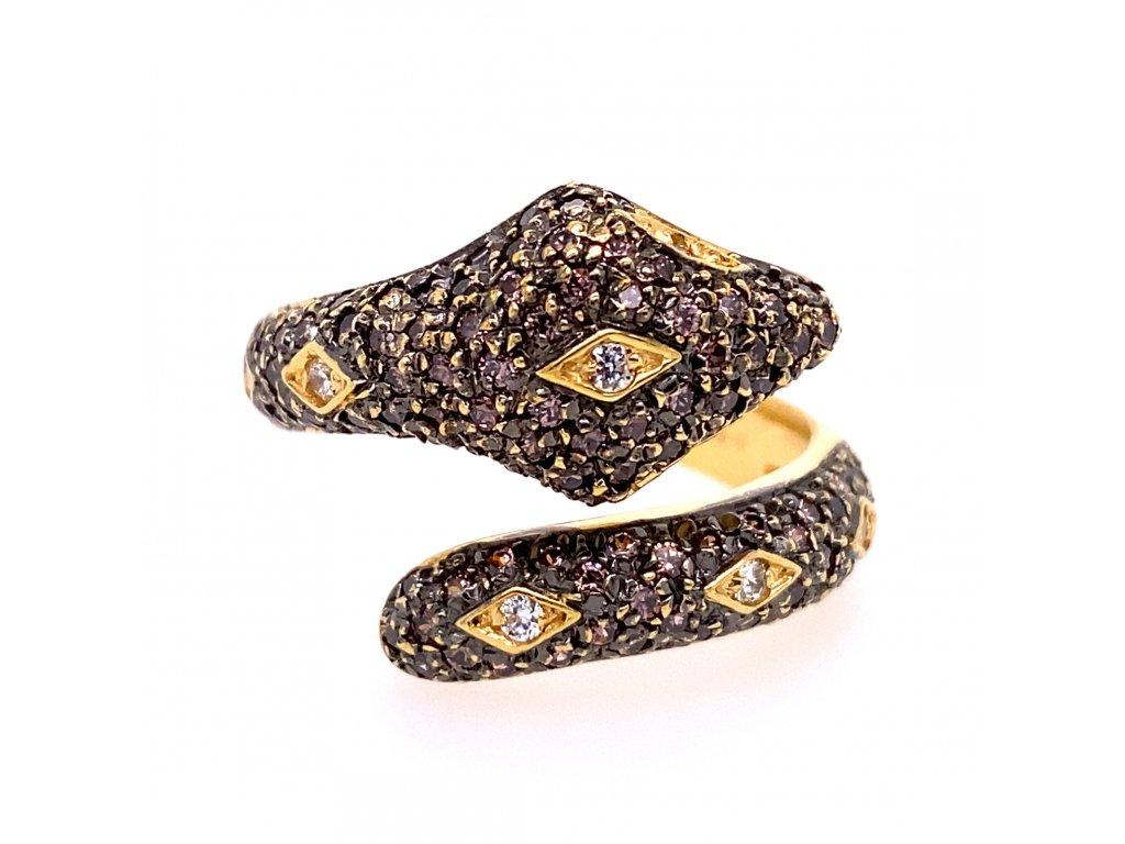 prsten-ve-tvaru-hada-ze-zluteho-zlata-s-fialovymi-a-bilymi-zirkony