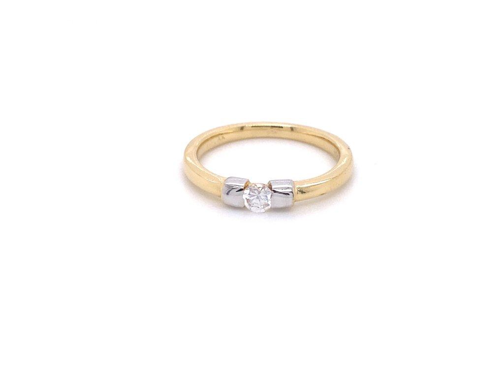 Prsten ze žlutého a bílého zlata se zirkonem
