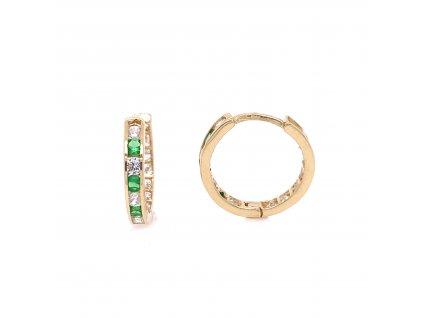 nausnice-kruhy-ze-zluteho-zlata-se-zelenymi-a-bilymi-zirkony-1-5-cm