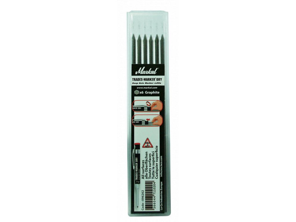 TRADES-MARKER DRY - REFILL PACK (x6 Graphite)