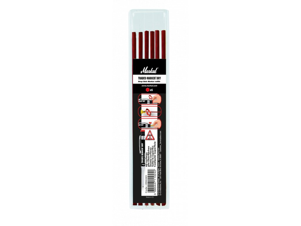 TRADES-MARKER DRY - REFILL PACK (x6 Red)