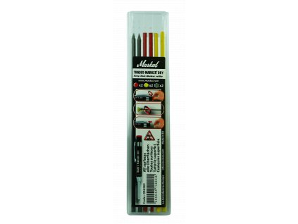 TRADES-MARKER DRY - REFILL PACK (x2 Graphite, x2 Red, x2 Yellow)