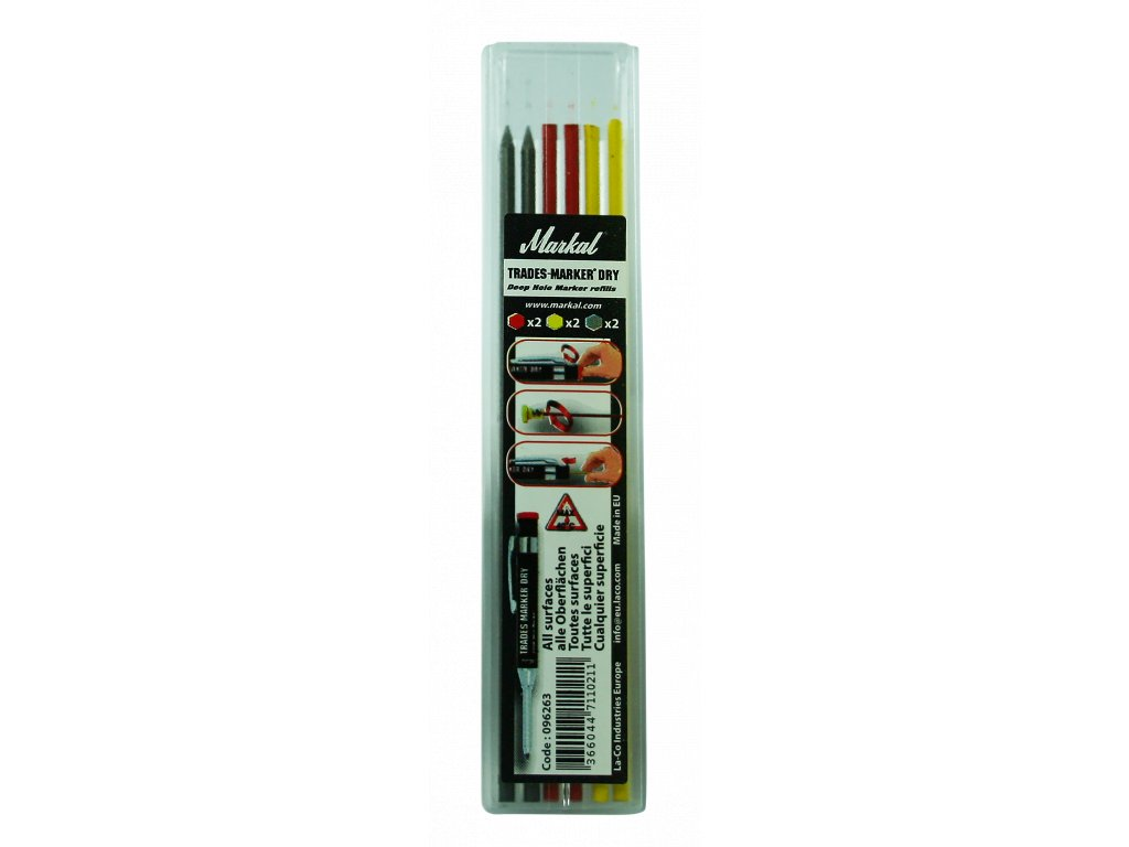 3191 trades marker dry refill pack x2 graphite x2 red x2 yellow