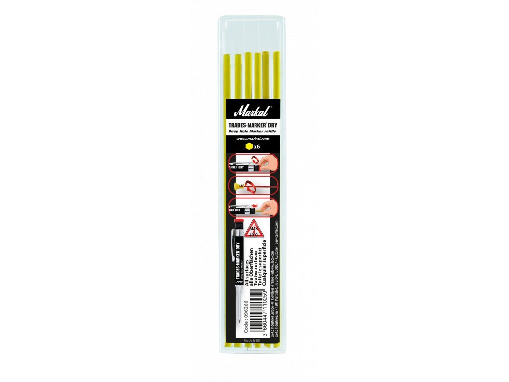 3200 trades marker dry refill pack x6 yellow