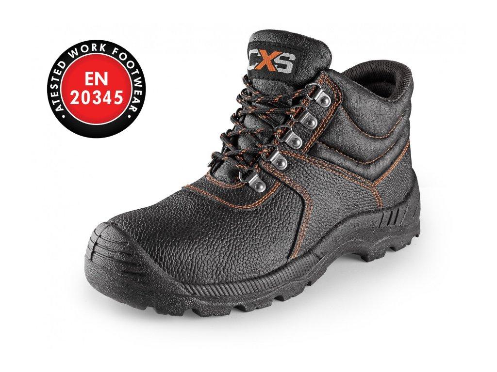 CXS Stone Marble S2 celokožená kotníková obuv s ocelovou špicí černá