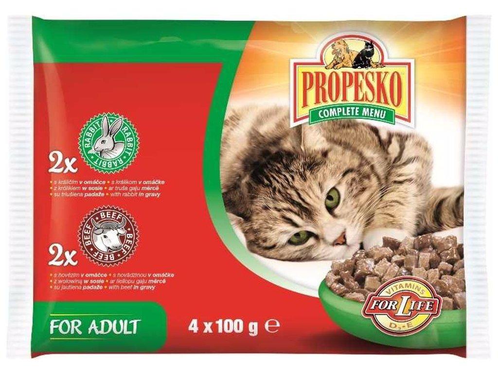 PROPESKO KAPSA KOČKA 4-pack 100g-hovězí+králík-10131