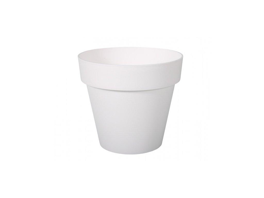 Květník MITU plastový bílý lesklý d16x14cm
