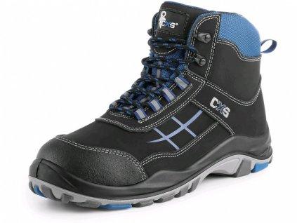 CXS Dog Boxer S1 celokožená kotníková obuv s ocelovou špicí modro-černá
