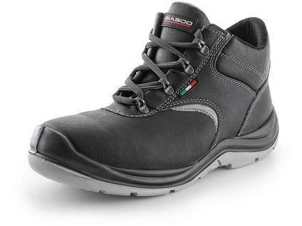 Cambridge S3 kožená kotníková obuv s plastovou špicí a planžetou černá