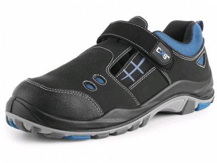 CXS Dog Terrier S1 celokožený sandál s ocelovou špicí modro-černý
