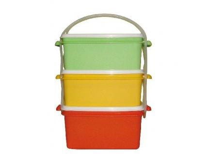 DK Plast - Jídlonosič 2x1,2l + 1x1,4l hranatý 17x15x20cm PH mix barev