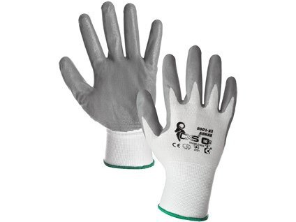 Povrstvené rukavice ABRAK, bílo-šedé