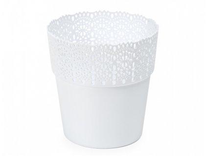 Obal na květník BELLA plastový bílý d12x12cm