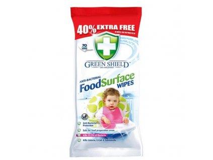 green shield kuchyne antibakterialni cistici vlhcene ubrousky 70 kusu