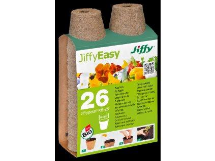 Rašelinový květináč Jiffypot® R6-26, 6 cm - balení 26 kusů
