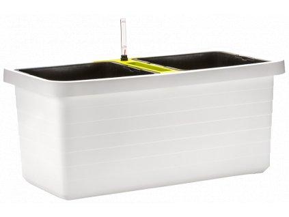 Berberis DUO velkoobjemový truhlík samozavlažovací bílá + zelený příčník 80 cm