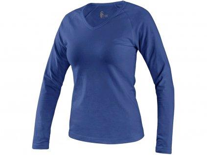 Tričko CXS MARY, dámské, výstřih do V, dlouhý rukáv, středně modrá