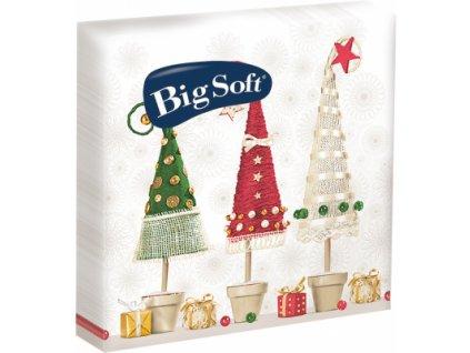Big Soft vánoční, 2vrstvé papírové ubrousky, mix barev, balení 20 ks