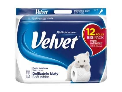 Velvet Soft White 3vrstvý toaletní papír, 12 rolí
