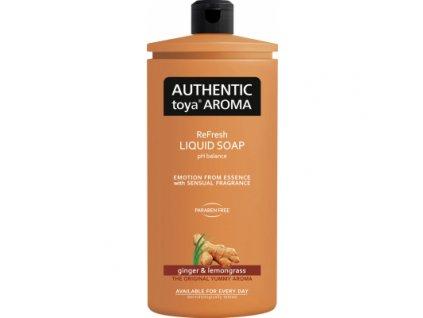 Authentic Toya Aroma ginger & lemongrass náhradní náplň tekuté mýdlo, 600 ml