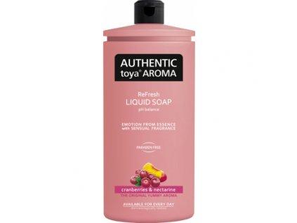 Authentic Toya Aroma cranberries & nectarine náhradní náplň tekuté mýdlo, 600 ml