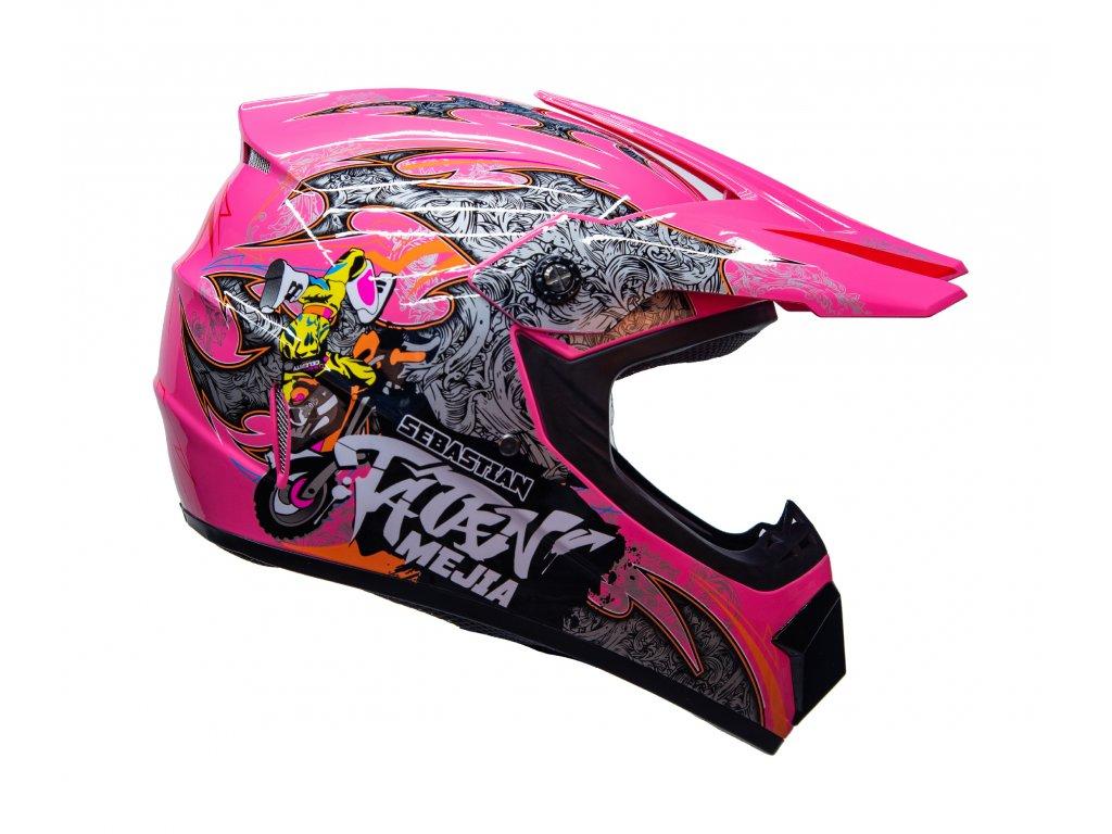 Dětská cross helma růžová
