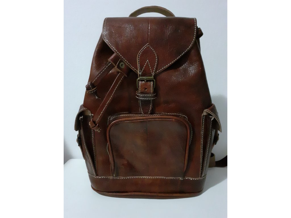 Kožený batoh klasický s přední kapsičkou na zip