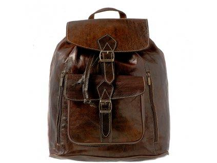 Tmavý lesklý kožený batoh