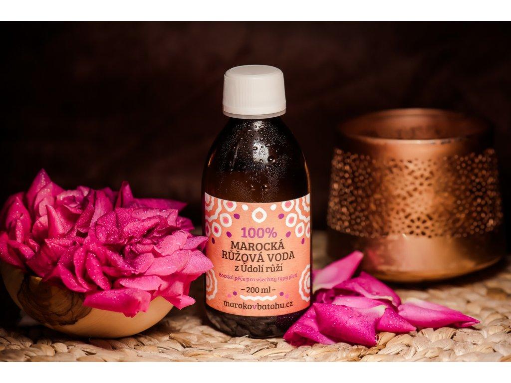 100% marocká květová voda (damašská růže)