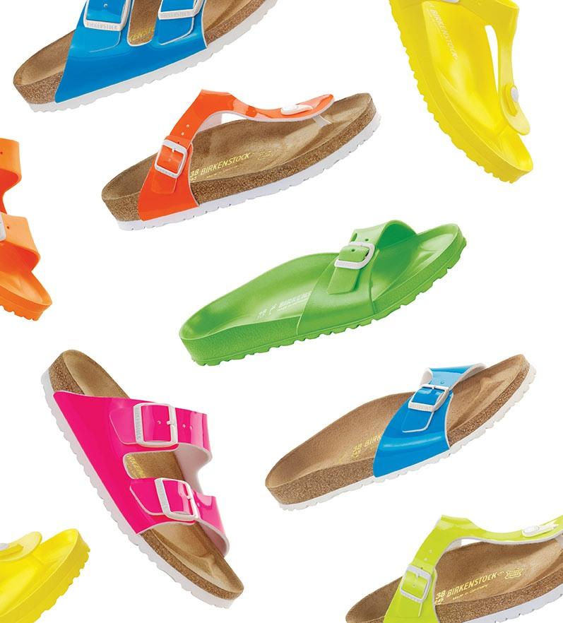 Neonové barvy v botníku od Birkenstock