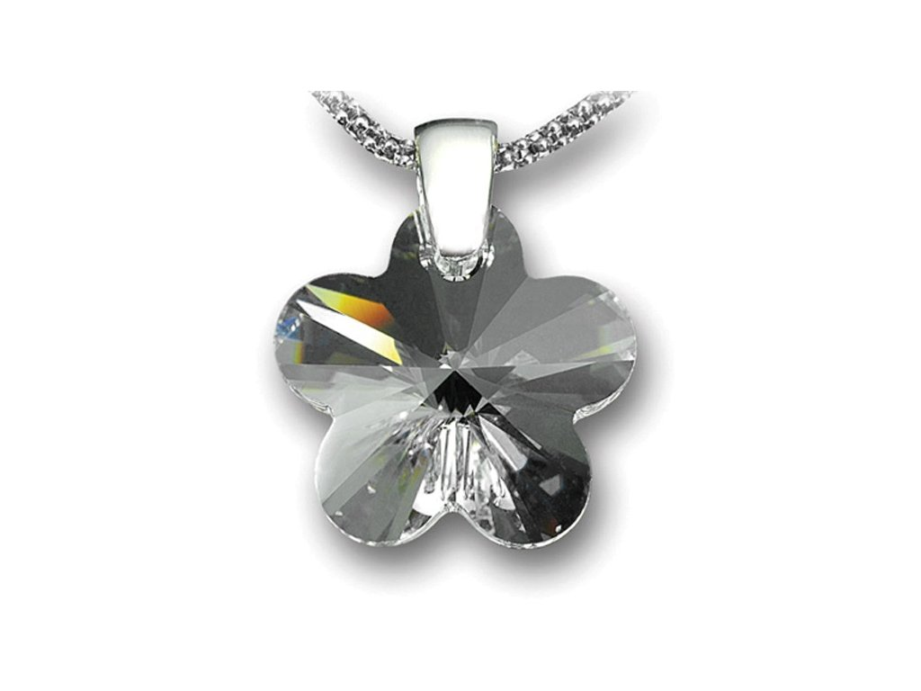 Swarovski Elements Přívěsek na krk - květina 18mm / crystal