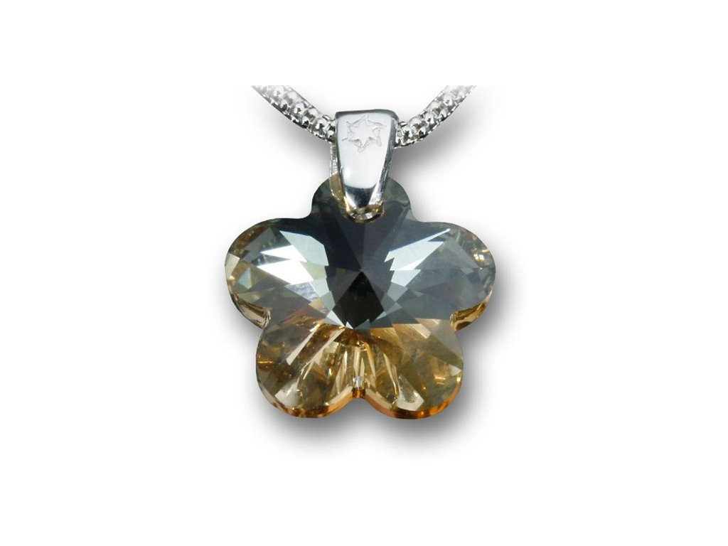 Swarovski Elements Přívěsek na krk - květina 18mm / crystal golden shadow