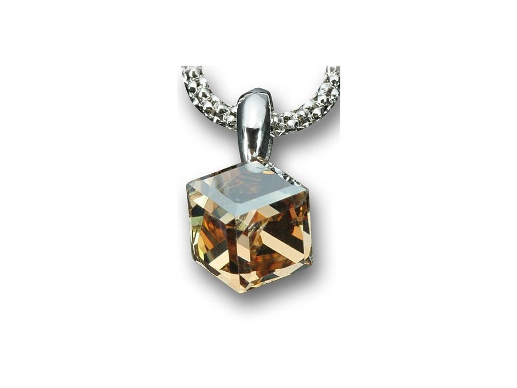 Swarovski Elements Přívěsek na krk - Cube 6mm / golden shadow