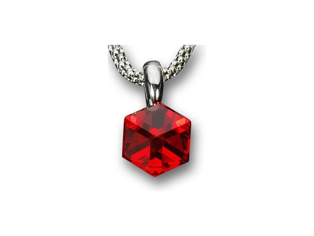 Swarovski Elements Přívěsek na krk - Cube 6mm / light siam