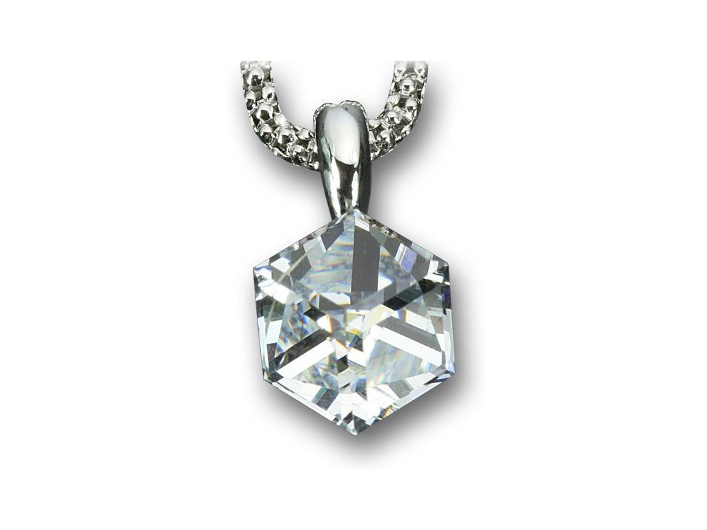 Swarovski Elements Přívěsek na krk - Cube 6mm / crystal