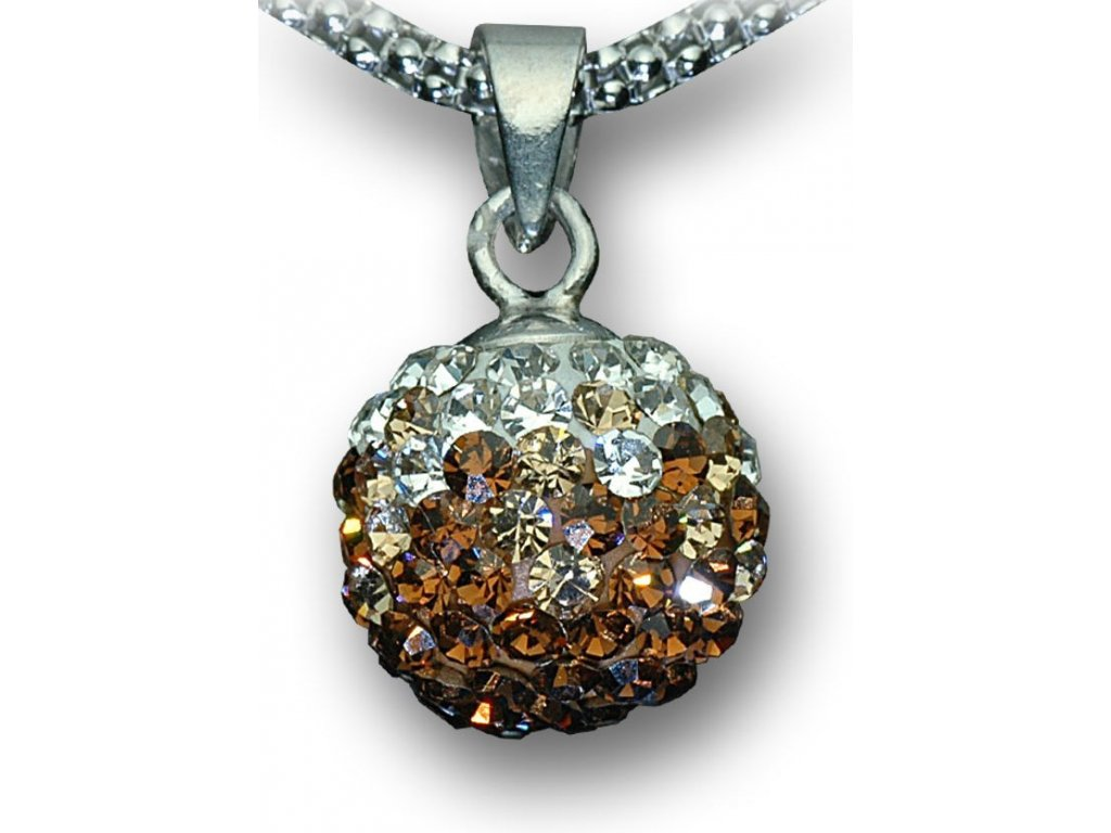 Swarovski Elements Přívěsek na krk - kulička 10mm / light+smoked topaz