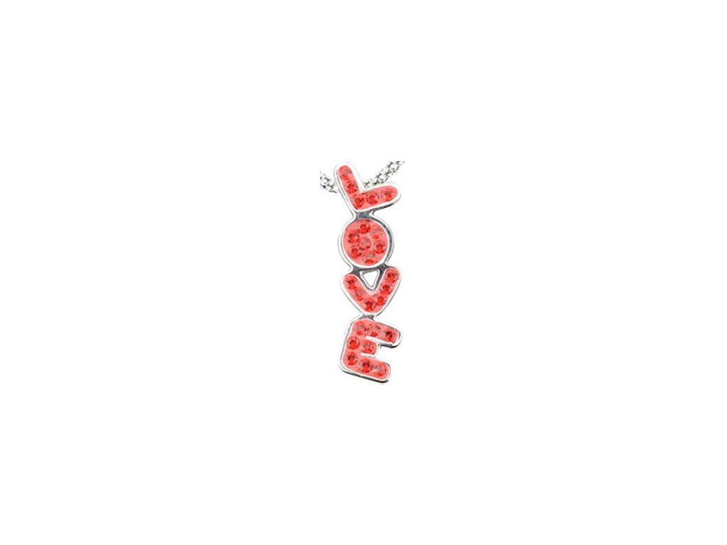 Swarovski Elements - Přívěsek na krk s řetízkem Love parts 25x6mm / light siam