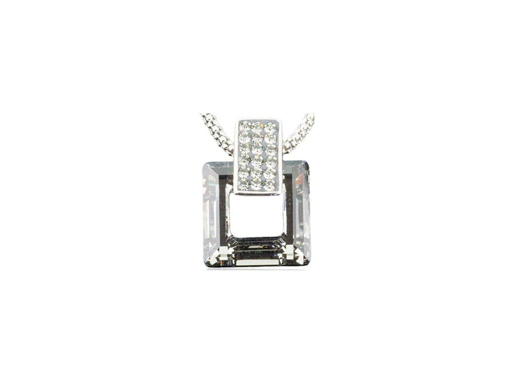 Swarovski Elements Přívěsek na krk s řetízkem Rectangel + quad 20mm / crystal dorado
