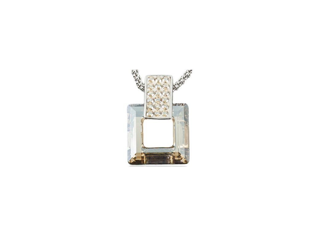 Swarovski Elements Přívěsek na krk s řetízkem Rectangel + quad 20mm / crystal golden shadow