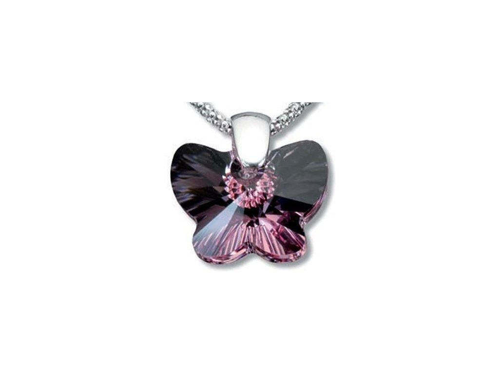 Swarovski Elements Přívěsek na krk - motýl 18mm / light rose
