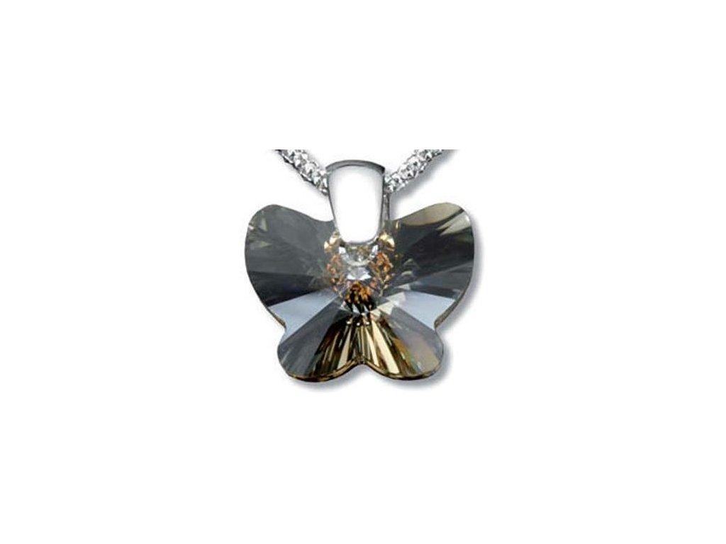 Swarovski Elements Přívěsek na krk - motýl 18mm / golden shadow