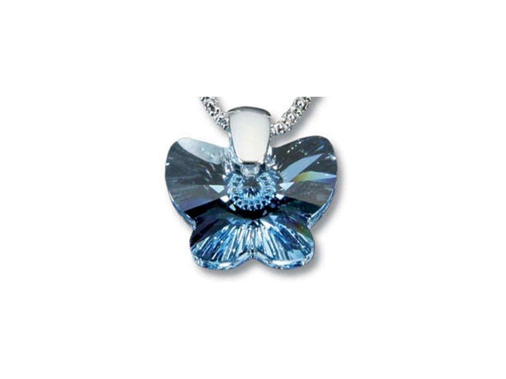 Swarovski Elements Přívěsek na krk - motýl 18mm / aquamarine