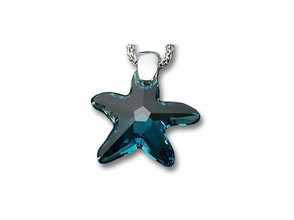 Swarovski Elements Přívěsek na krk - mořská hvězda 20mm / indicolite