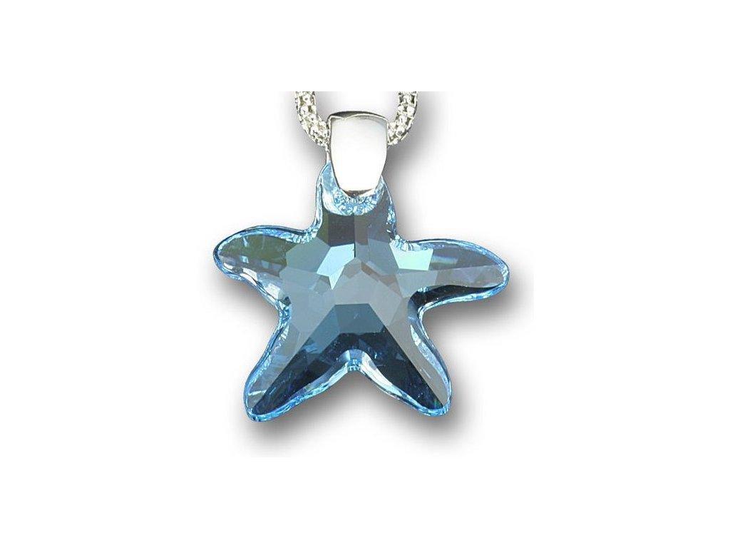 Swarovski Elements Přívěsek na krk - mořská hvězda 20mm / aquamarine