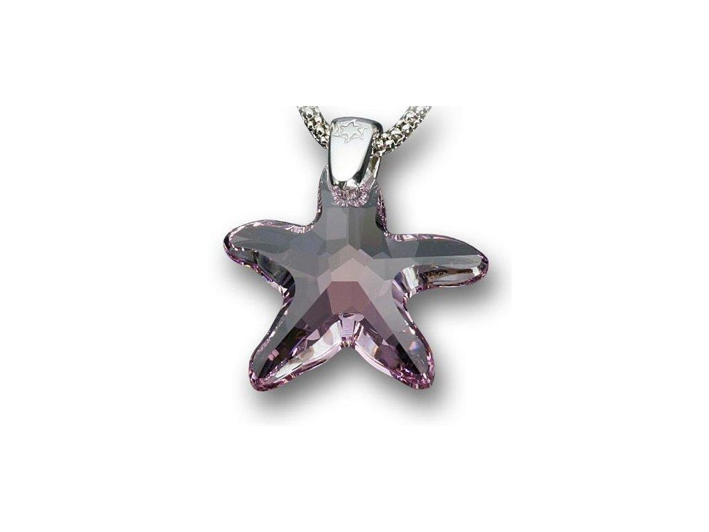 Swarovski Elements Přívěsek na krk - mořská hvězda 20mm / light amethyst