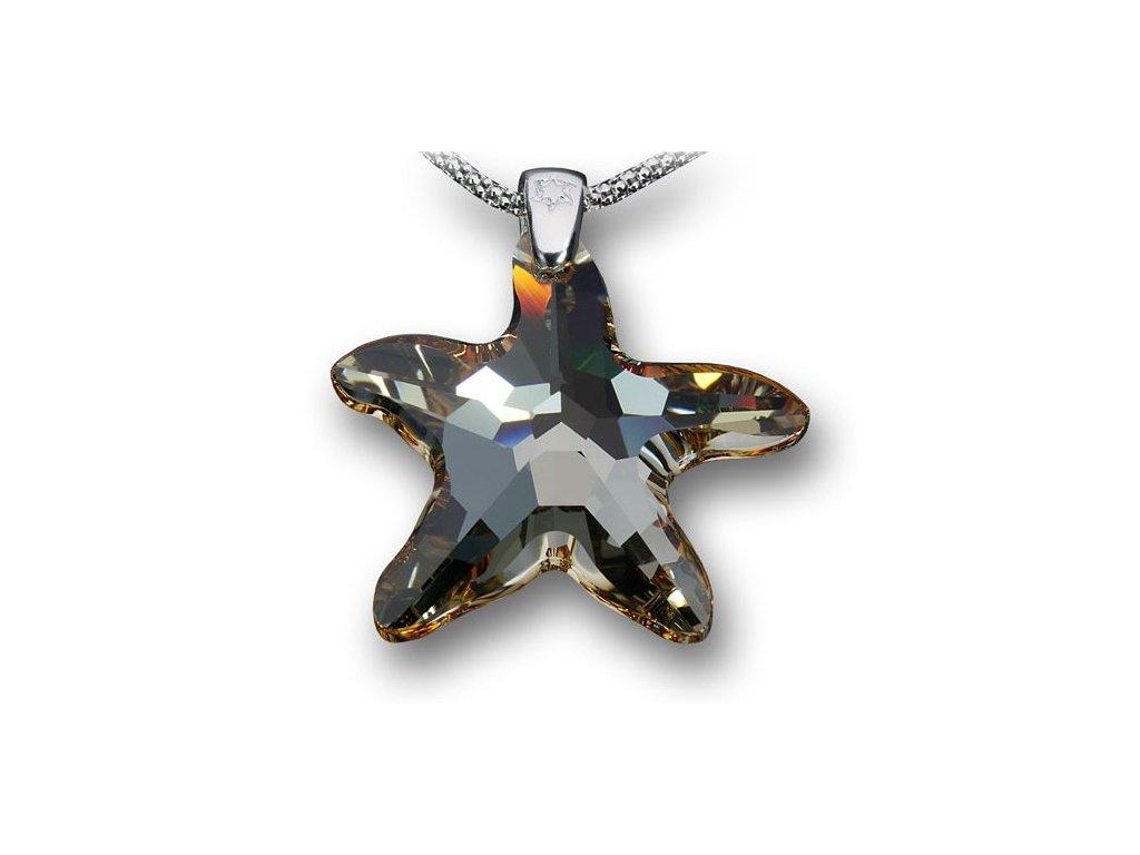 Swarovski Elements Přívěsek na krk - mořská hvězda 28mm / golden shadow