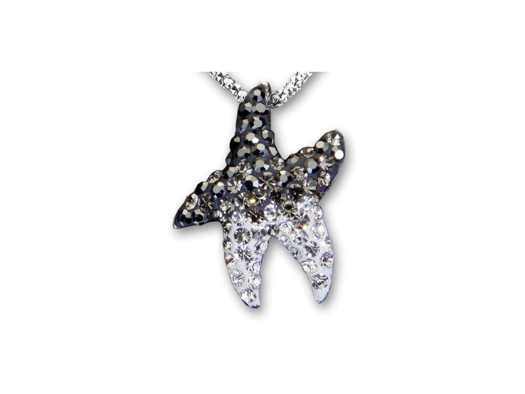 Swarovski Elements Přívěsek na krk - mořská hvězda parts 22mm / mix hematit+black diamonds+crystal