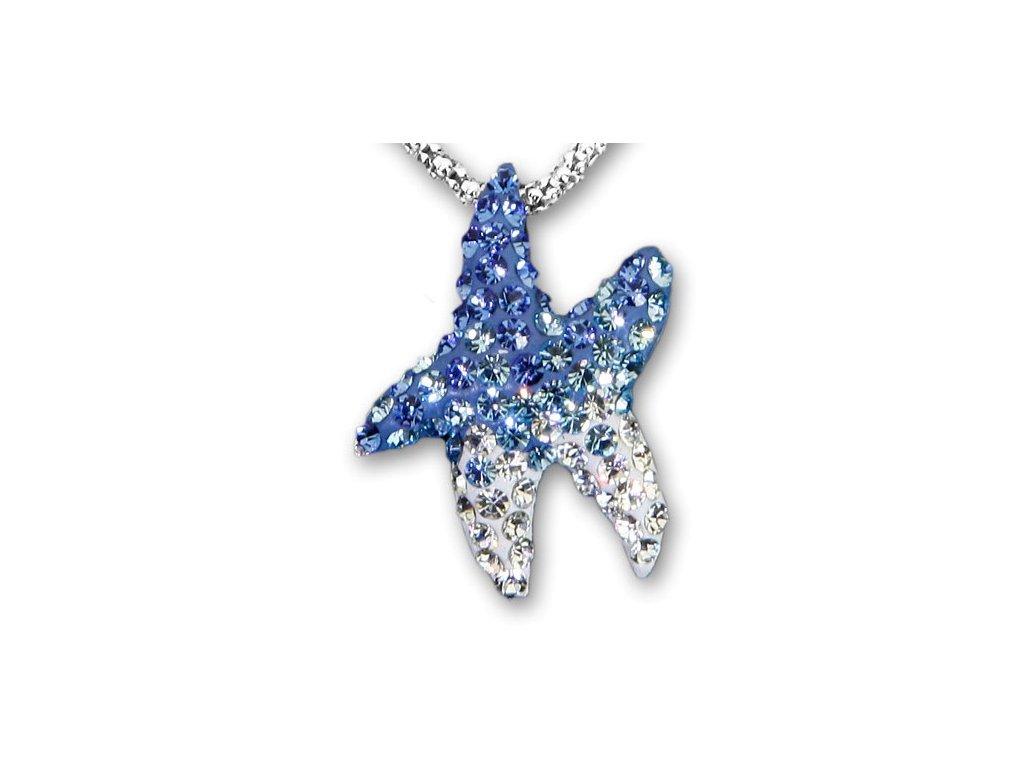 Swarovski Elements Přívěsek na krk - mořská hvězda parts 22mm / mix aquamarine+sapphire+crystal
