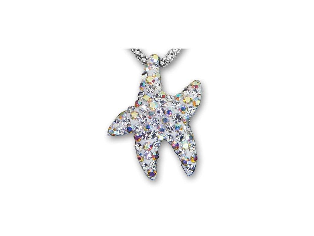 Swarovski Elements Přívěsek na krk - mořská hvězda parts 22mm / mix crystal+crystal ab